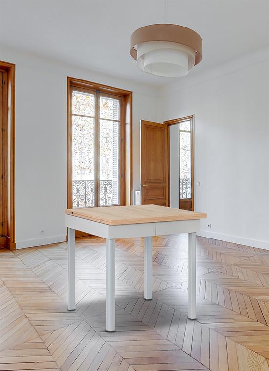 Tavolo allungabile quadrato 80x80 cm rovere e vano sottopiano portastoviglie