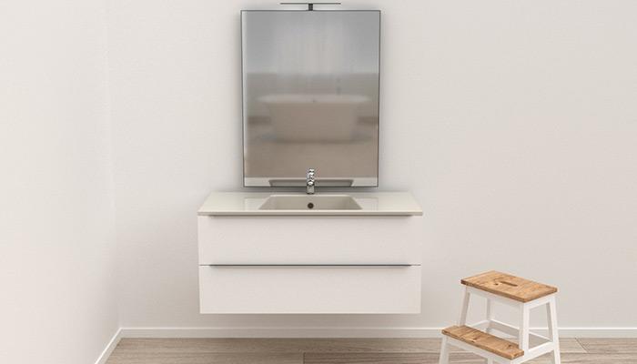 Mobile bagno sospeso 2 cassetti con specchio